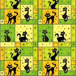 Composition with 5 Black Cats in Pumpkin Patch