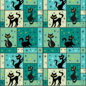 Composition with 5 Black Cats in Tropical Pool