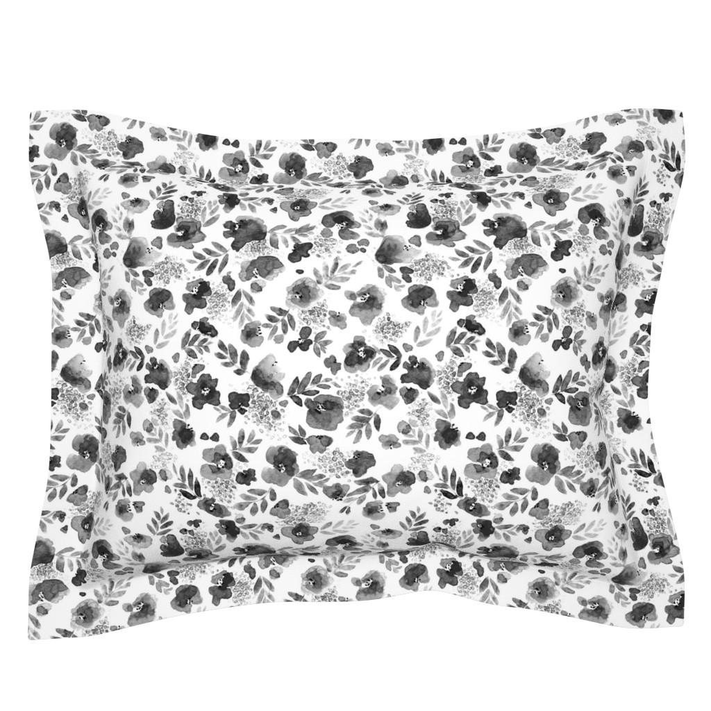 Sebright Pillow Sham featuring Floret FLoral Pattern in Black and White by mjmstudio
