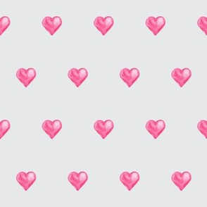 Watercolor hearts with Gray Background