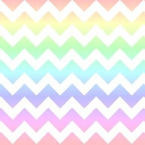 Pastel Rainbow White Chevron