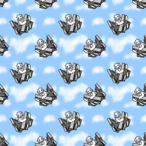 When Sheepdogs fly - blue sky