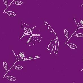 field of flowers on rich purple