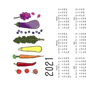2020 veggie rainbow tea towel calendar