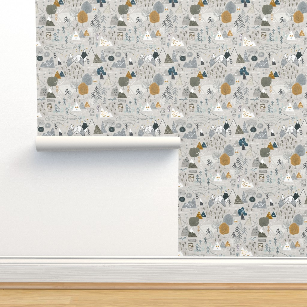 Isobar Durable Wallpaper featuring Max's Map (grey) by nouveau_bohemian