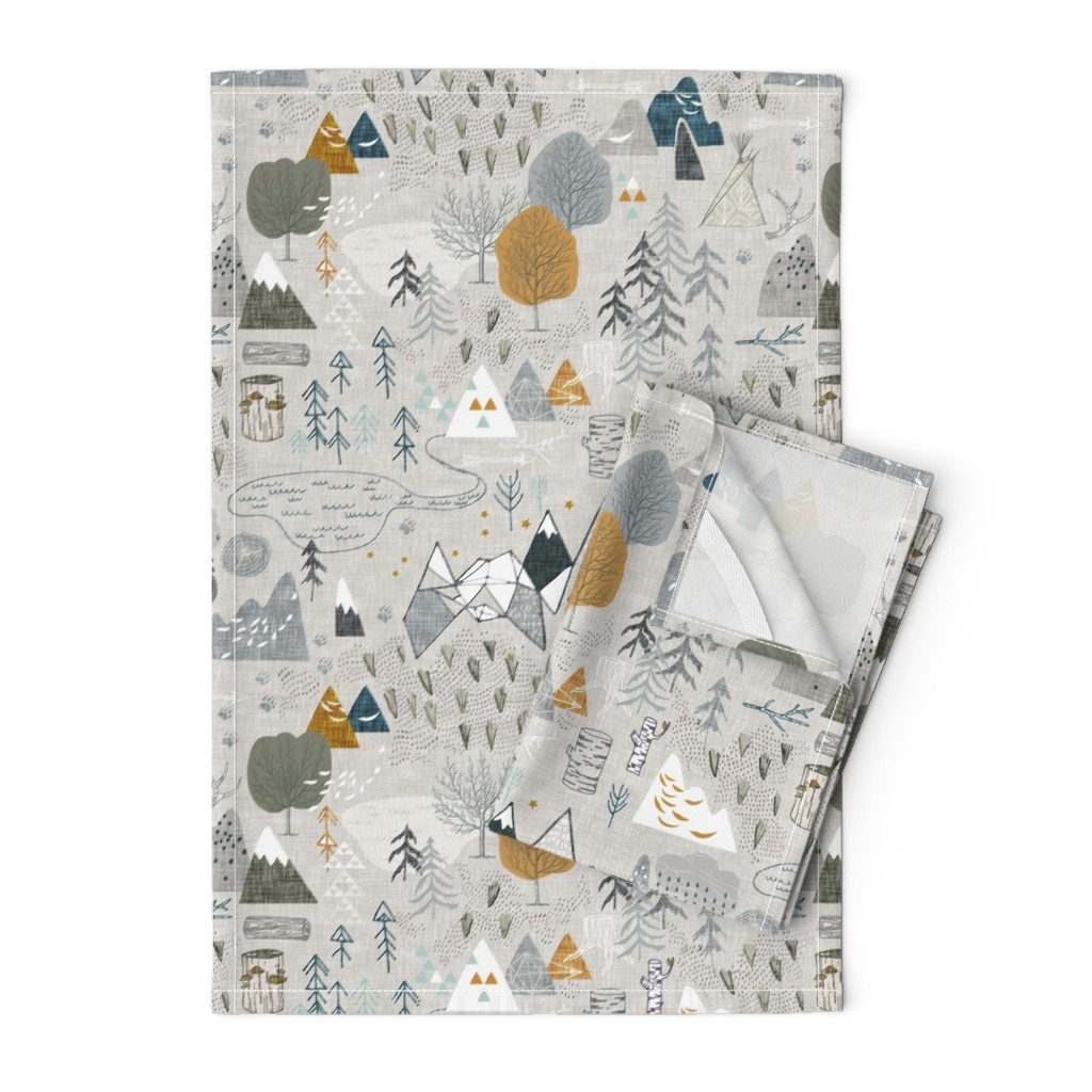 Orpington Tea Towels featuring Max's Map (grey) by nouveau_bohemian