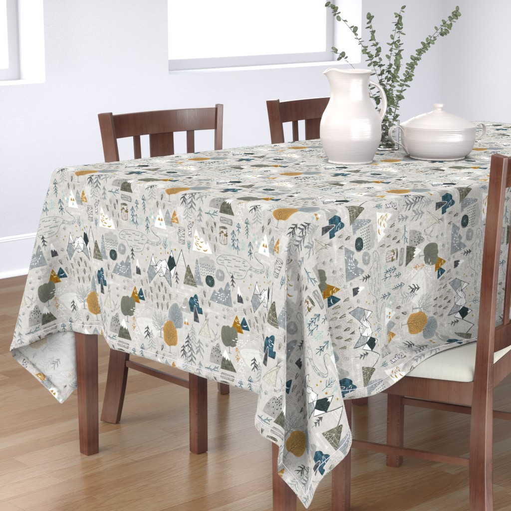 Bantam Rectangular Tablecloth featuring Max's Map (grey) by nouveau_bohemian