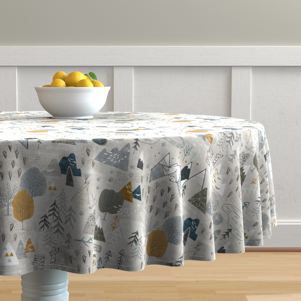 Malay Round Tablecloth featuring Max's Map (grey) by nouveau_bohemian
