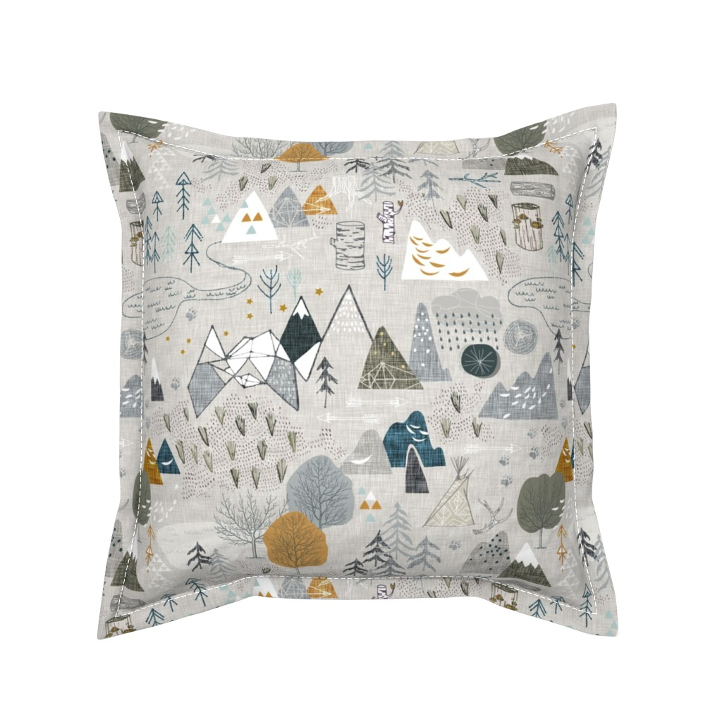 Serama Throw Pillow featuring Max's Map (grey) by nouveau_bohemian
