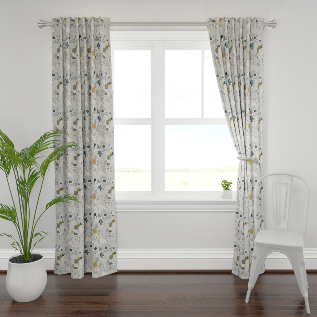 Plymouth Curtain Panel featuring Max's Map (grey) by nouveau_bohemian