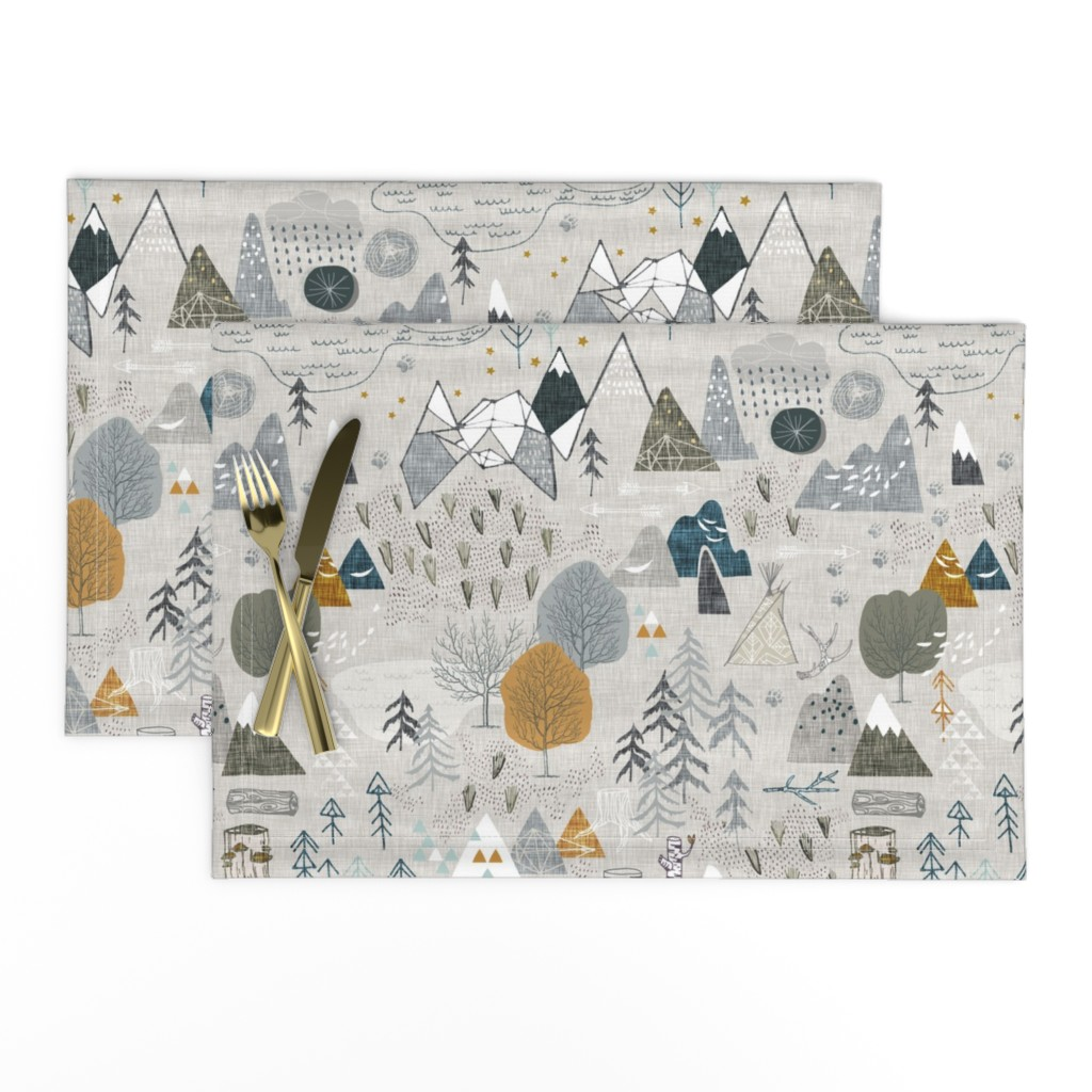 Lamona Cloth Placemats featuring Max's Map (grey) by nouveau_bohemian