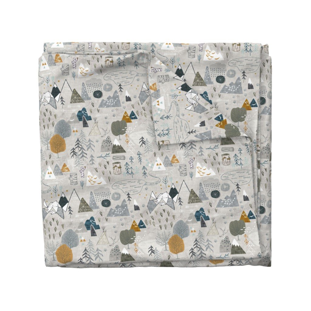 Wyandotte Duvet Cover featuring Max's Map (grey) by nouveau_bohemian