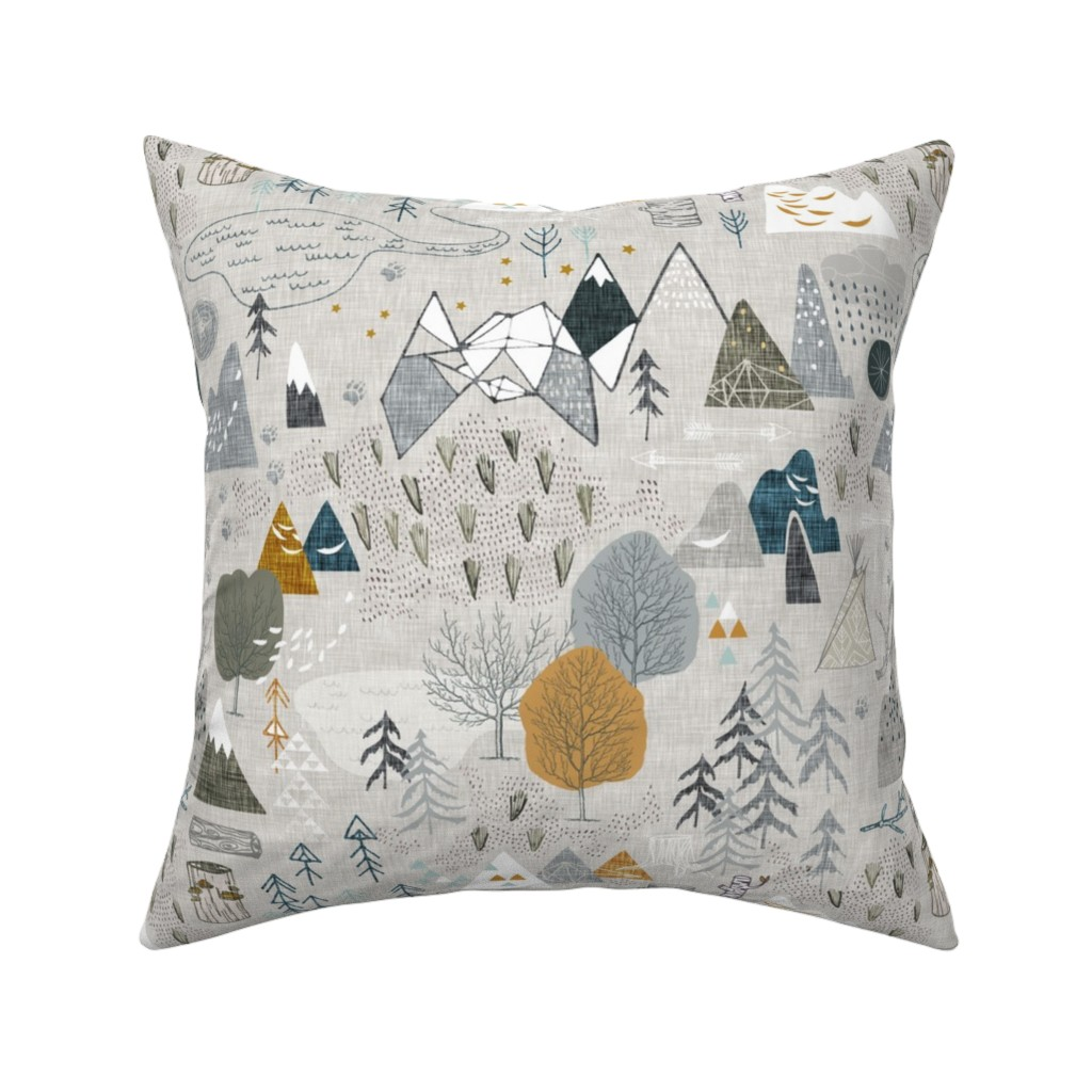 Catalan Throw Pillow featuring Max's Map (grey) by nouveau_bohemian