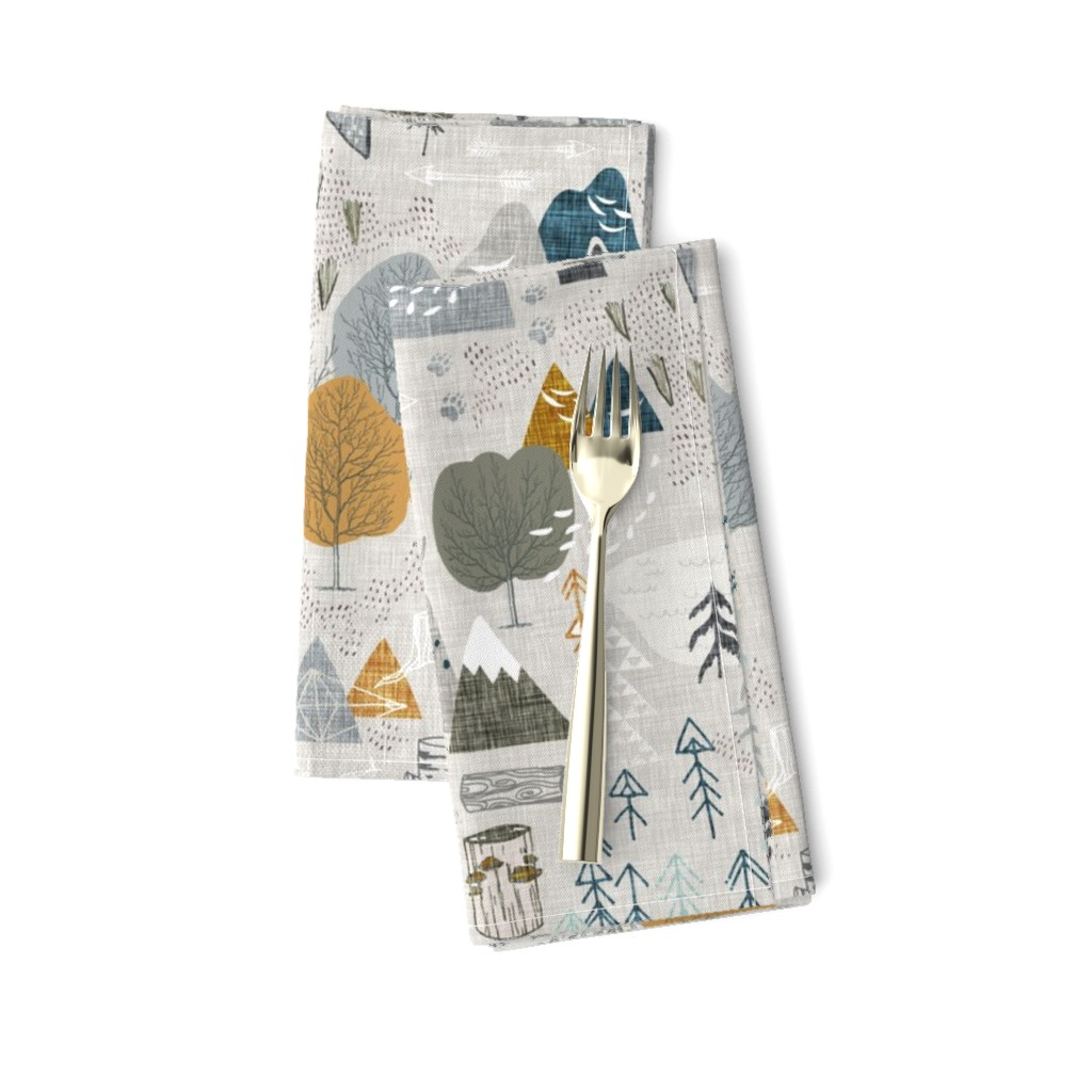 Amarela Dinner Napkins featuring Max's Map (grey) by nouveau_bohemian
