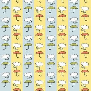 Splish-Splash - Umbrellas on blue and yellow Stripes Nursery