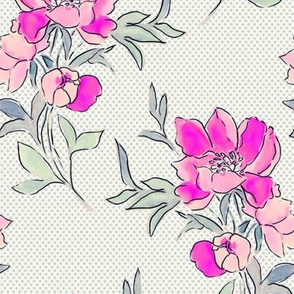 Vintage Floral Dot Fuschia