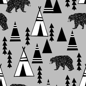tipi forest // grey nursery bear boys southwest print