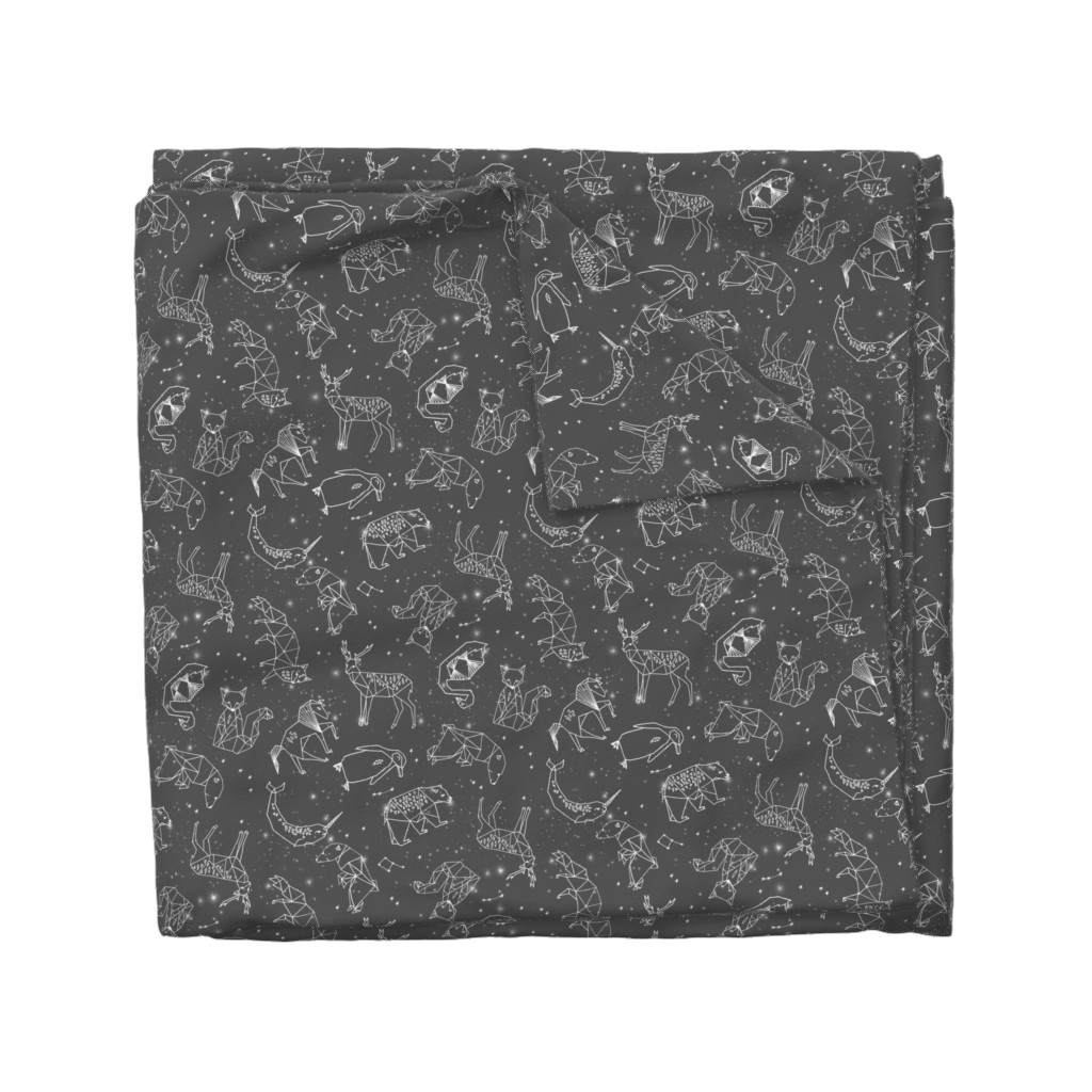 Wyandotte Duvet Cover featuring constellations // night time stars sky charcoal grey kids nursery baby print by andrea_lauren