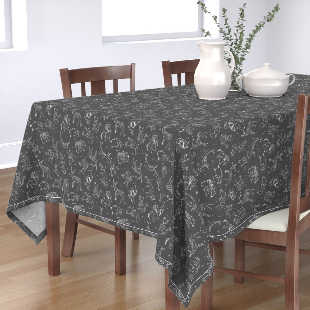Bantam Rectangular Tablecloth featuring constellations // night time stars sky charcoal grey kids nursery baby print by andrea_lauren