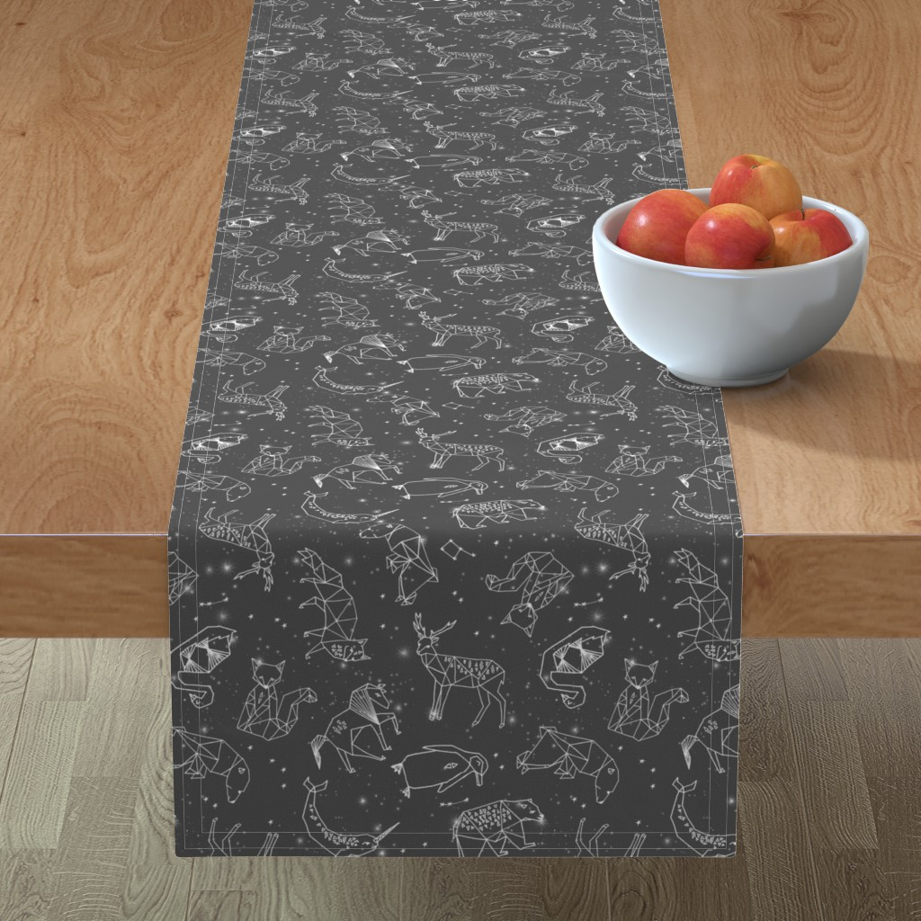 Minorca Table Runner featuring constellations // night time stars sky charcoal grey kids nursery baby print by andrea_lauren