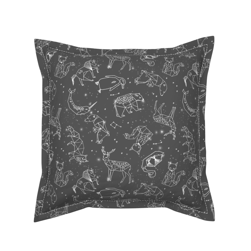 Serama Throw Pillow featuring constellations // night time stars sky charcoal grey kids nursery baby print by andrea_lauren