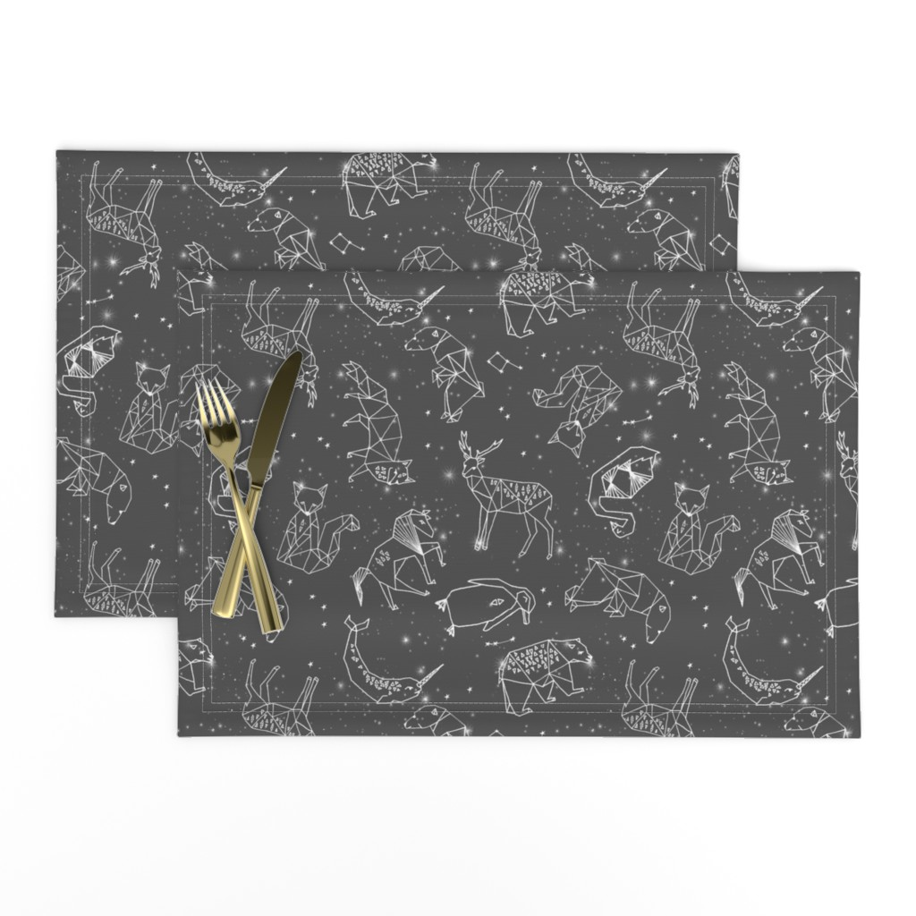 Lamona Cloth Placemats featuring constellations // night time stars sky charcoal grey kids nursery baby print by andrea_lauren