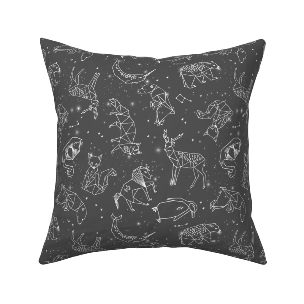 Catalan Throw Pillow featuring constellations // night time stars sky charcoal grey kids nursery baby print by andrea_lauren