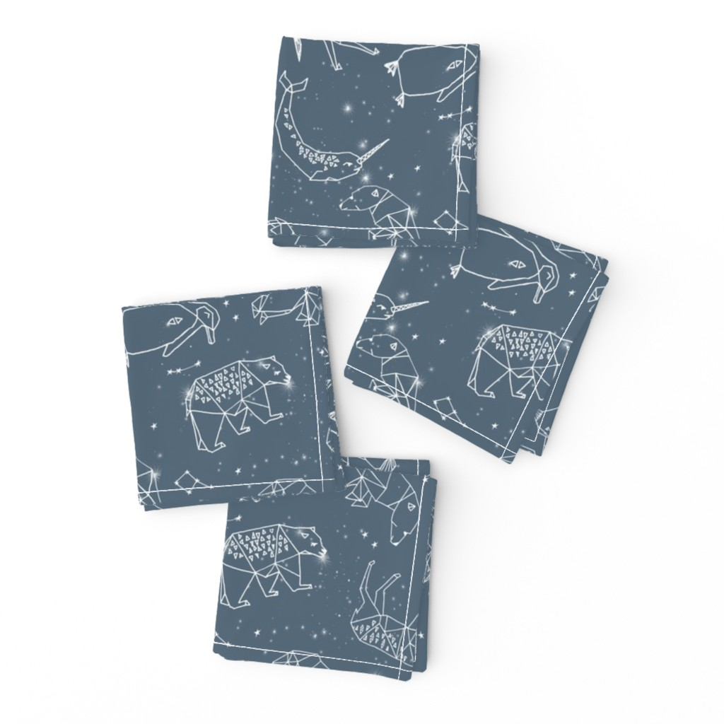 Frizzle Cocktail Napkins featuring constellations // animal geometric origami illustration blue sky night sky kids nursery baby  by andrea_lauren