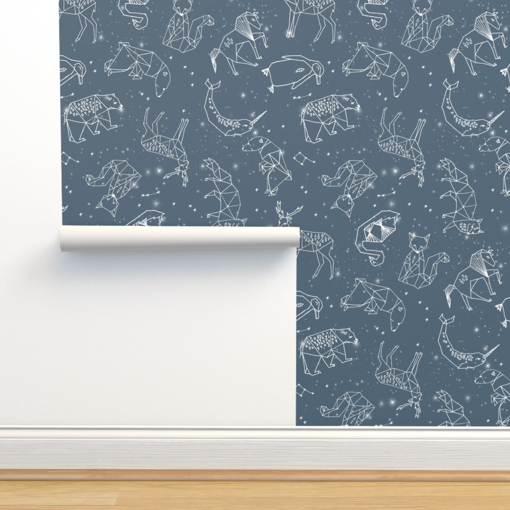 Isobar Durable Wallpaper featuring constellations // animal geometric origami illustration blue sky night sky kids nursery baby  by andrea_lauren