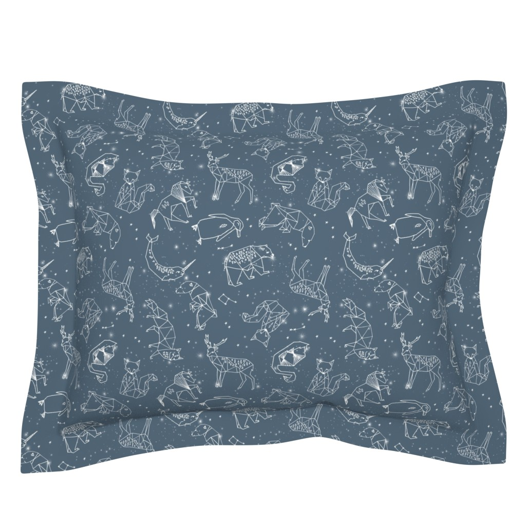 Sebright Pillow Sham featuring constellations // animal geometric origami illustration blue sky night sky kids nursery baby  by andrea_lauren