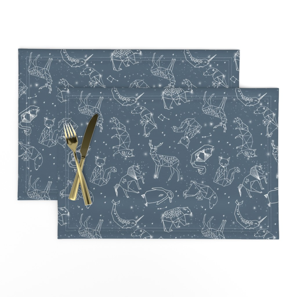 Lamona Cloth Placemats featuring constellations // animal geometric origami illustration blue sky night sky kids nursery baby  by andrea_lauren