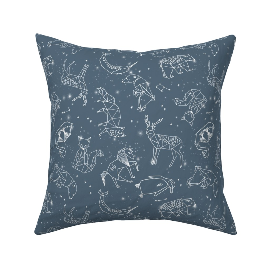 Catalan Throw Pillow featuring constellations // animal geometric origami illustration blue sky night sky kids nursery baby  by andrea_lauren