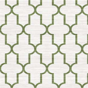 Grasscloth Moroccan Quatrefoil in Green