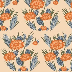 Flowers on Light Orange Background