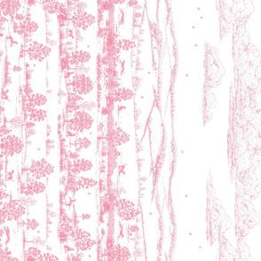 Light Pink Greyhound Toile Panel Border ©2010 by Jane Walker