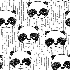 panda fabric // black and white panda head cute illustration by andrea lauren andrea lauren  nursery baby fabrics black and white scandi nursery cute baby design