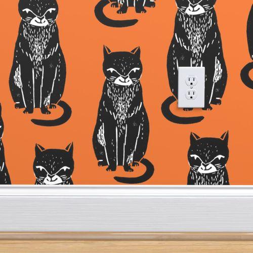 Black Cat Orange Halloween Cat Stamp Spoonflower