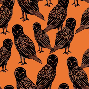 owls // black and orange halloween block printed illlustration