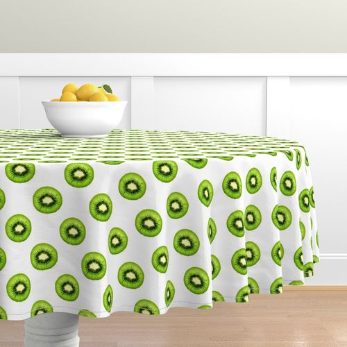 Fruit Cotton Sateen Circle Tablecloth by Spoonflower Limes On Yellow Background by Food Round Tablecloth