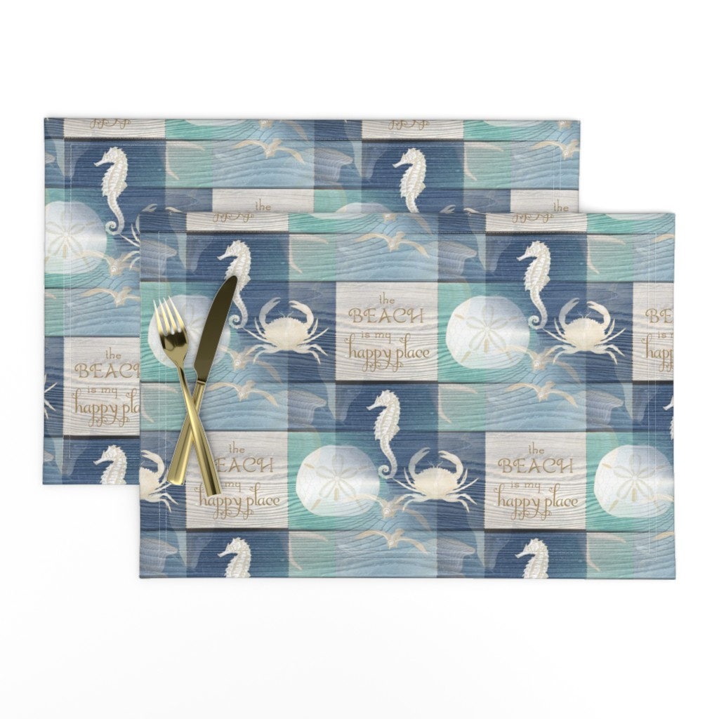 Lamona Cloth Placemats featuring Beach Happy Place Sea on Wood by 13moons_design