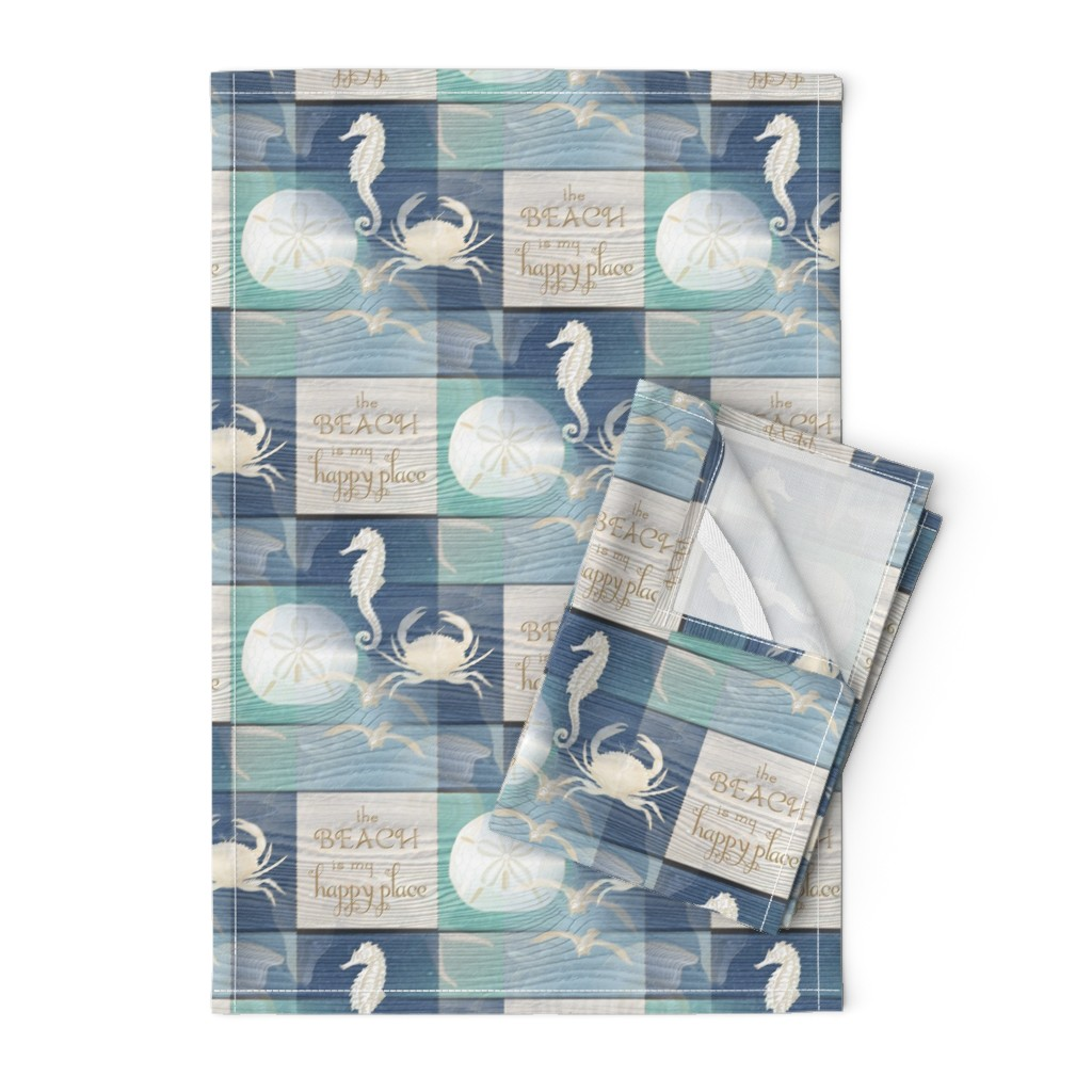 Orpington Tea Towels featuring Beach Happy Place Sea on Wood by 13moons_design