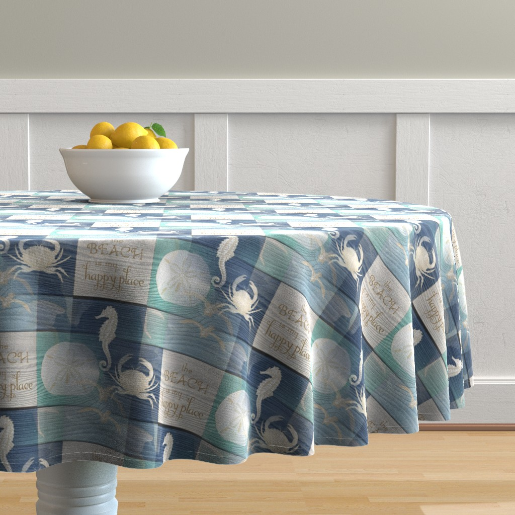 Malay Round Tablecloth featuring Beach Happy Place Sea on Wood by 13moons_design