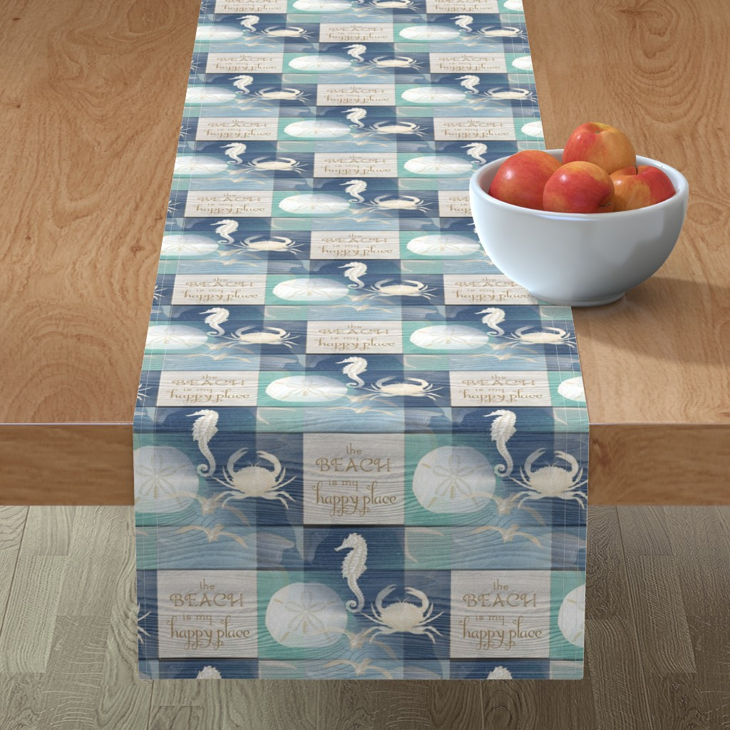 Minorca Table Runner featuring Beach Happy Place Sea on Wood by 13moons_design