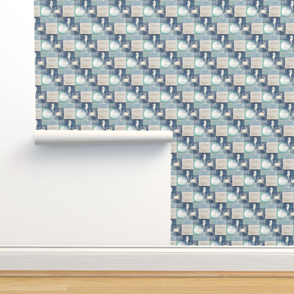 Isobar Durable Wallpaper featuring Beach Happy Place Sea on Wood by 13moons_design