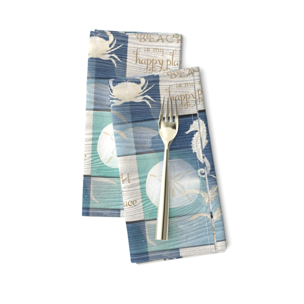 Amarela Dinner Napkins featuring Beach Happy Place Sea on Wood by 13moons_design