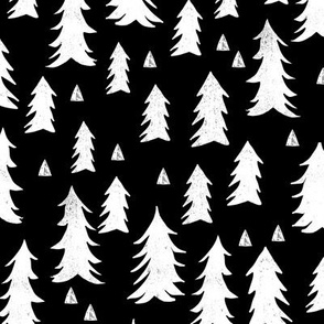 trees // black and white forest woodland tree home decor fir tree