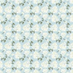 White Flowers (Blender print blue)