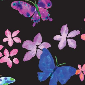 Saturated Watercolor Butterflies