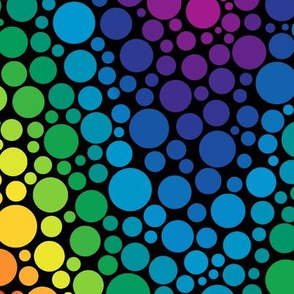 rainbow chevron dots on black