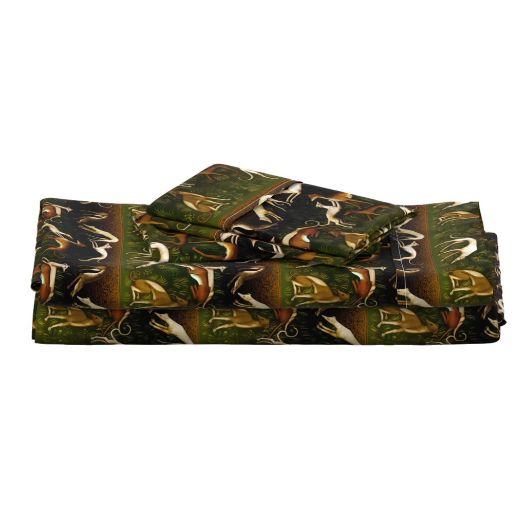 Langshan Full Bed Set featuring Sighthounds by iizzard